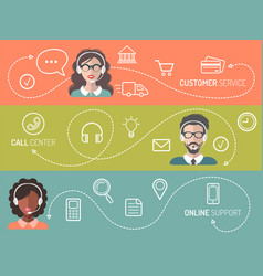 set of call center customer service vector image