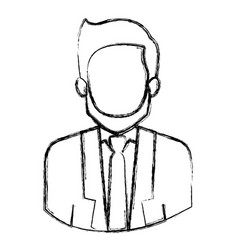Monochrome blurred contour with half body of vector