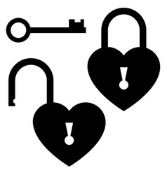 Key to the heart door lock icon st valentines vector