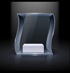 glass showcase in wave form for presentation on vector image
