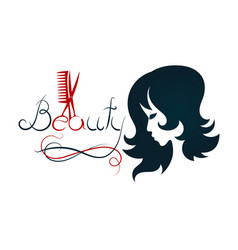 silhouette for beauty salon and hairdresser vector image