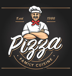 Pizzeria emblem design vector