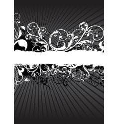 Swirling floral background banner vector