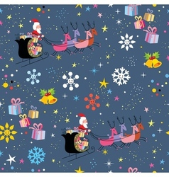 Santa and his sleigh flying christmas pattern vector