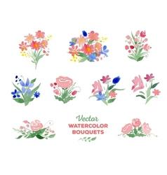 Watercolor floral bouquets vector