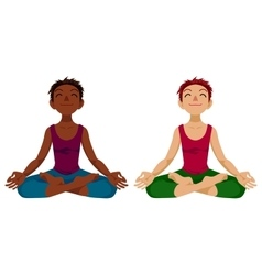 Girl in yoga lotus position vector