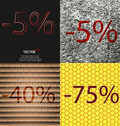 5 40 75 icon set of percent discount on abstract vector