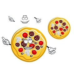 Fast food pepperoni pizza cartoon character vector