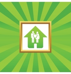 Young family house picture icon vector