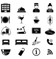 Hotel services icons black silhouette isolated vector