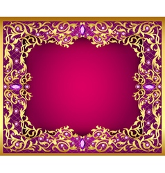 Background with gems and gold ornaments vector