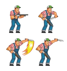 Red neck knife attack sprite vector
