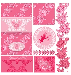 Flowers pink wedding 1 380 vector