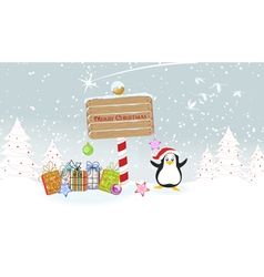 Penguin with presents vector