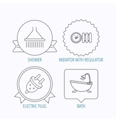 Shower bath and electric plug icons vector