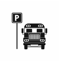 Parking sign and bus icon simple style vector
