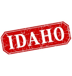 Idaho red square grunge retro style sign vector