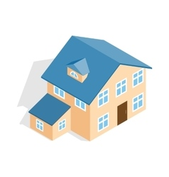 Two storey house with annexe icon vector