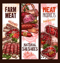 Banner sketch butchery shop meat product vector