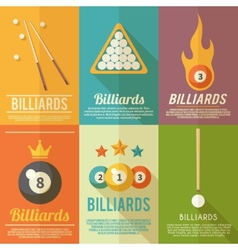 Billiards Poster Set vector image vector image