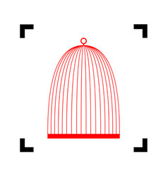 Bird cage sign red icon inside black vector