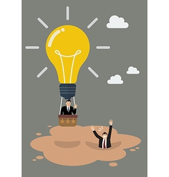Businessman in lightbulb balloon get away from vector image vector image