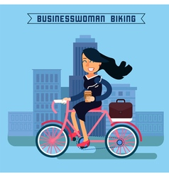 Businesswoman Riding a Bicycle in the City vector image vector image