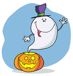 Cartoon Character Happy Ghost Pumpkin Leaves vector image