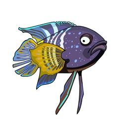 cartoon tropical fish violet yellow vector image vector image