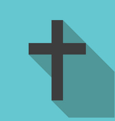 christian cross long shadow vector image
