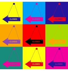 Closed sign pop-art style icons set vector