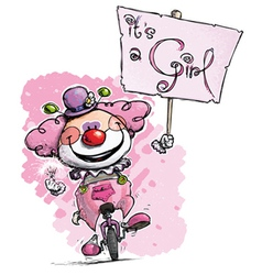 Clown on unicle hoding an its a girl plackard vector