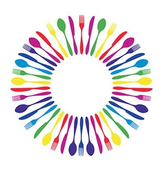 Colorful cutlery background vector image vector image