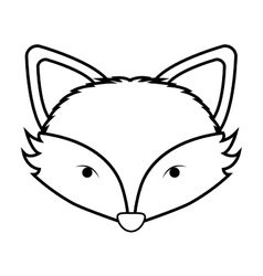 Contour monochrome with fox face vector