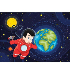 Cute astronaut flying in space vector image vector image