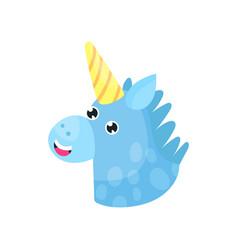 cute cartoon blue magic unicorn head vector image