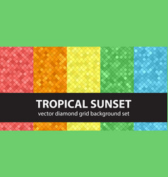 Diamond pattern set tropical sunset seamless vector