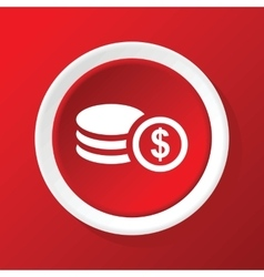 Dollar rouleau icon on red vector