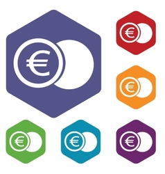 Euro coin rhombus icons vector image