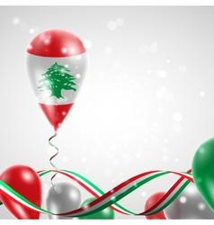 Flag of Lebanon on balloon vector image vector image
