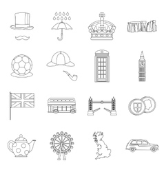 Great Britain set outline style vector image vector image