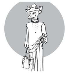 Hand drawn deer hipster girl in pantsoutline vector