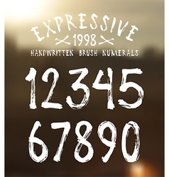 handwritten brush numerals vector image
