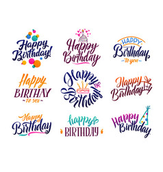 Happy birthday elegant brush script text vector