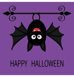 Happy halloween card cute cartoon hanging bat vector
