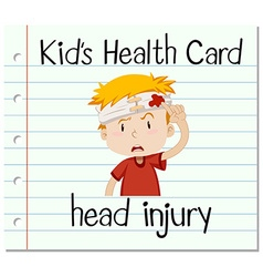 Health card with boy having head injury vector
