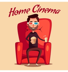Home cinema movie watching cartoon vector