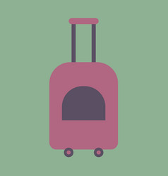 Icon in flat design for airport suitcase on wheels vector