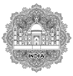 India Taj Mahal vector image