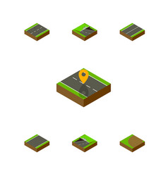 Isometric road set of subway turning underground vector